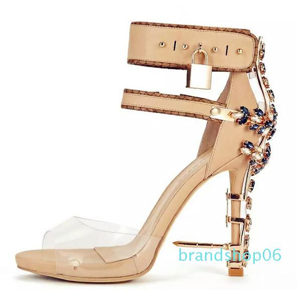 Hot Sale-d Fish Mouth Transparencies with Metal Decoration Ankle Strap Female Sandals Thick Bottom Stiletto-heels