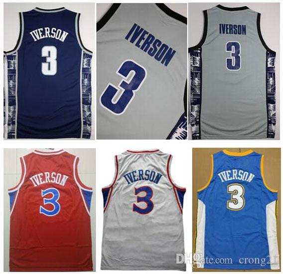 Kolej Georgetown Mavi Hoyas Gri Sportwear Allen Iverson Jersey Üniversitesi Üniformalar Carmelo Anthony Dikembe Mutombo Formalar Dikişli