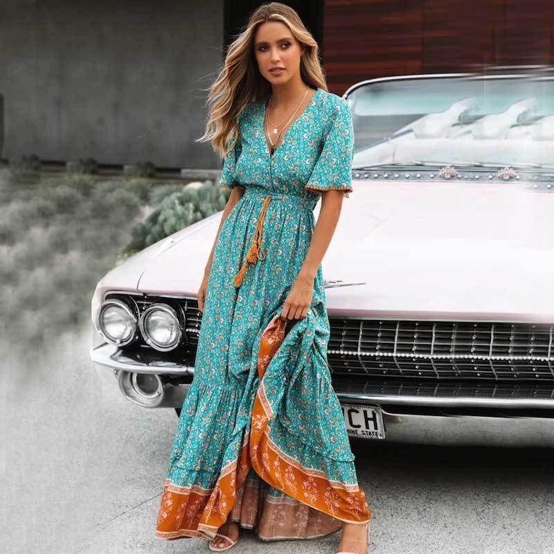 Maxi abito floreale Boho Inspiriert Blus V -cut Key Down Sharp Trim 2019 Abito primavera estate Quaste Bound Y19071101