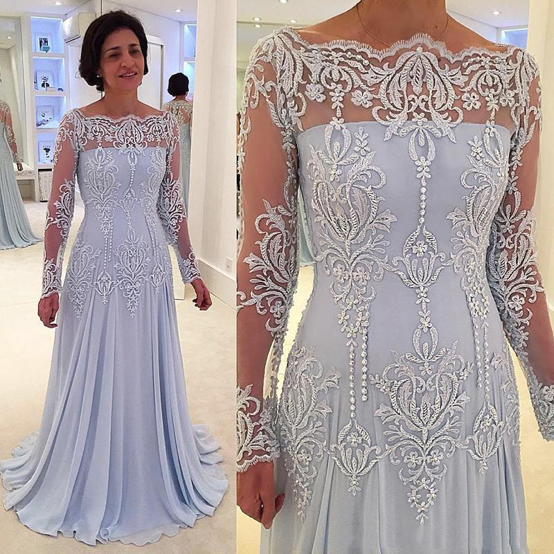Long Sleeves Chiffon Mother Of Bride Groom Dresses Off Shoulders Lace Embroidery Beaded Elegant Floor Length Mother Dresses Plus Size Mother Of The Groom Dresses For Summer Wedding Mothers Dresses From Idodresser