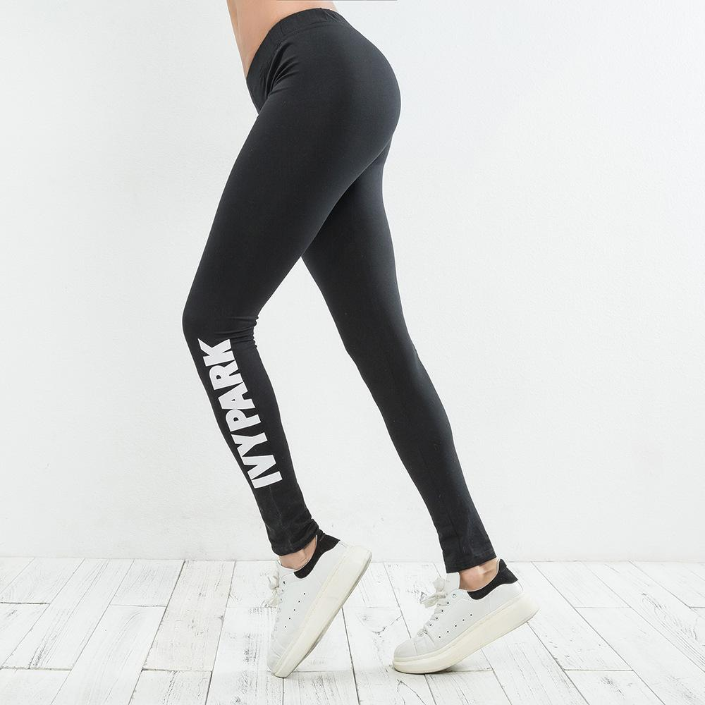 Hot Ladies Beyonce IVY PARK Imprimir cartas respirável longo trecho Pant magro Leggings das mulheres corredores Athletic