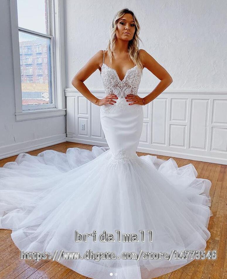 Nuovo 2020 sexy senza spalline da sposa Mermaid abiti senza schienale lungo abito da sposa appliqued Tulle Beach Boho Wedding Gowns vestidos da sposa