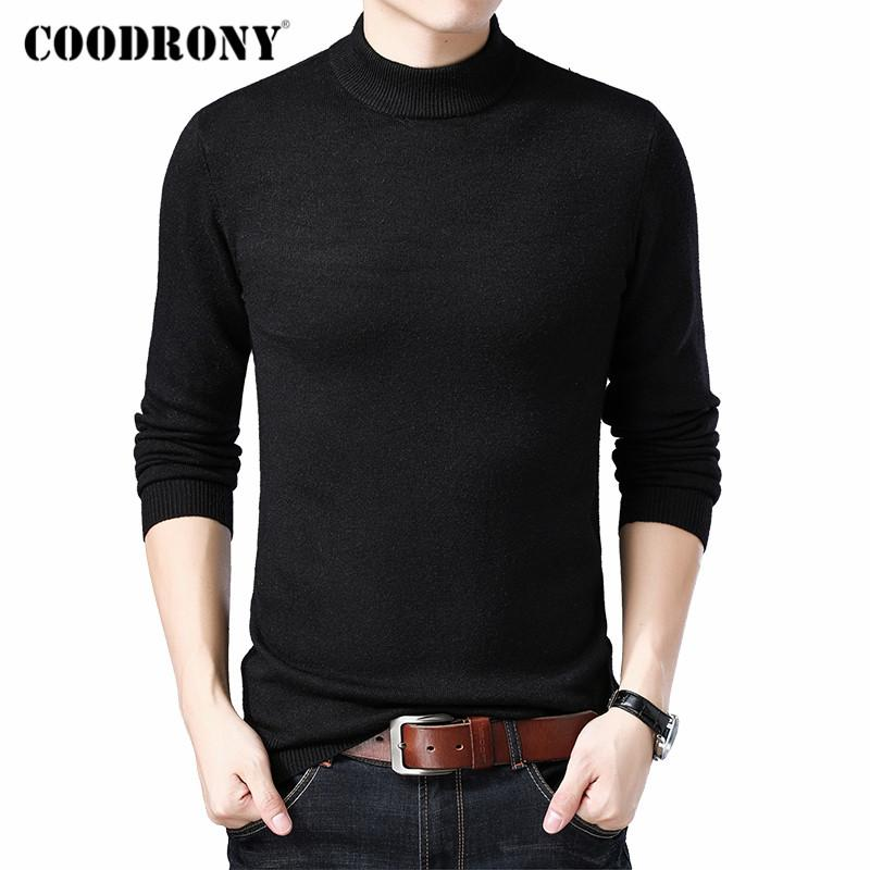 COODRONY Marca camisola de gola alta Homens Moda Casual Pull Homme 2019 inverno de espessura aquecer camisolas macia Knitwear Pullover Homens C1014