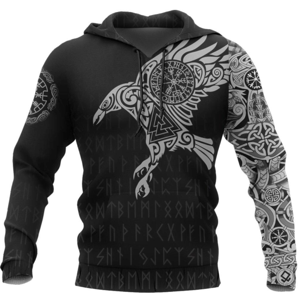El cuervo de Viking del tatuaje 3D Impreso Hombres sudaderas con capucha retro de Harajuku Moda con capucha sudadera con capucha otoño streetwear informal Y200519