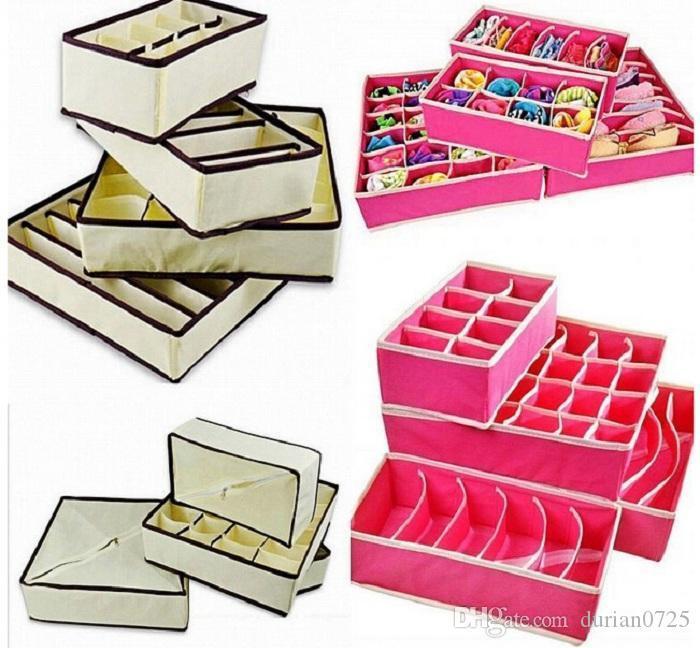 4pcs / set la casa para guardar calcetines ropa interior sujetador Corbata cajas de almacenamiento de los organizadores del armario de cajones de envío gratuito divisores