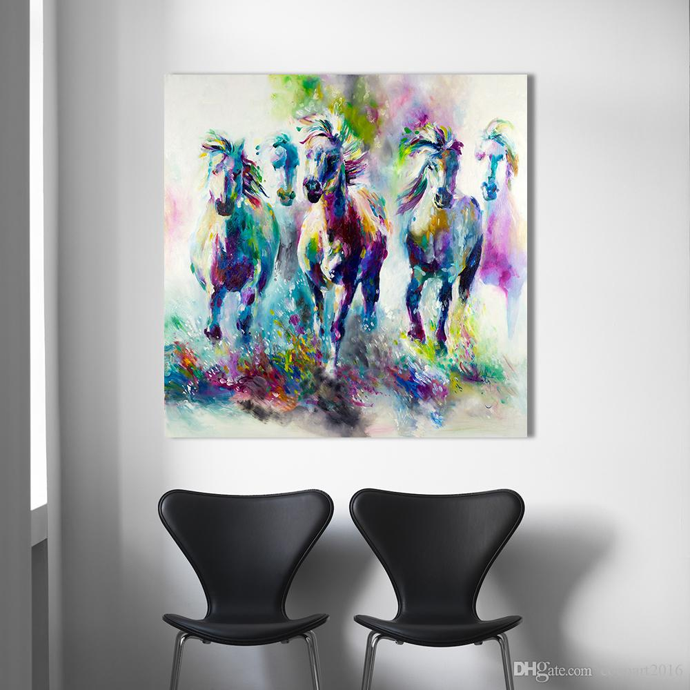 Canvas Giclee Wall Art Prints Horse Fence Tree Photo Colorful Print Decor 2
