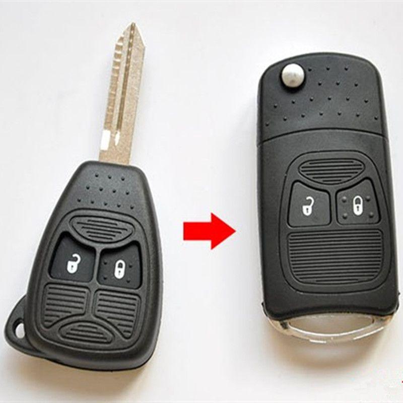 2 버튼 수정 플립 접는 키 쉘의 경우 크라이슬러 300C 지프 닷지 나침반 언쟁 패트리어트 시계 줄 원격 자동차 키 케이스