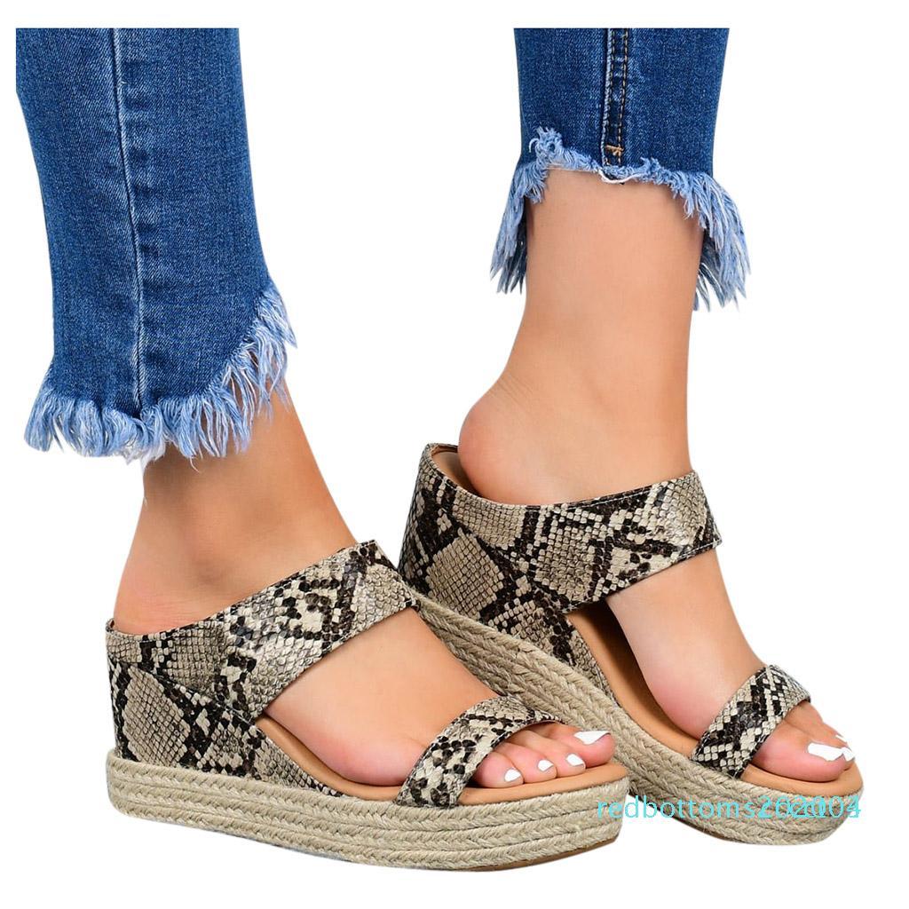 Summer new design fashion snakeskin pattern Platform wedges Sandals women high-heeled casual snake Flip Flop Sandal r03