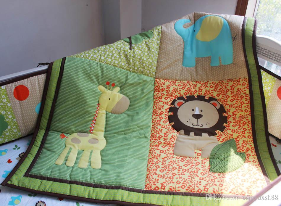 Hot Selling Baby Organizer Cotton Crib bumper set 6Pcs Cot bedding set Baby Quilt Bumper Fitted Sheet Embroidery 3D lion elephant deer tree