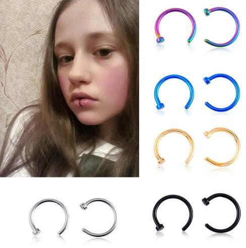 Trendy Nose Rings Body Piercing Jewelry Stainless Steel Nose Open Hoop Ring Earring Studs Fake Nose Rings Non Piercing Rings GD140