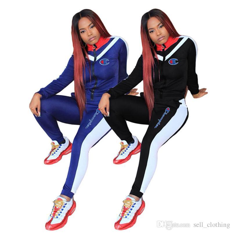 Campeones de las mujeres chándales dos PC fijó cremallera capa top + pantalones casuales trajes de caída al aire libre, prendas de deporte juego de los deportes de invierno patchwork 988