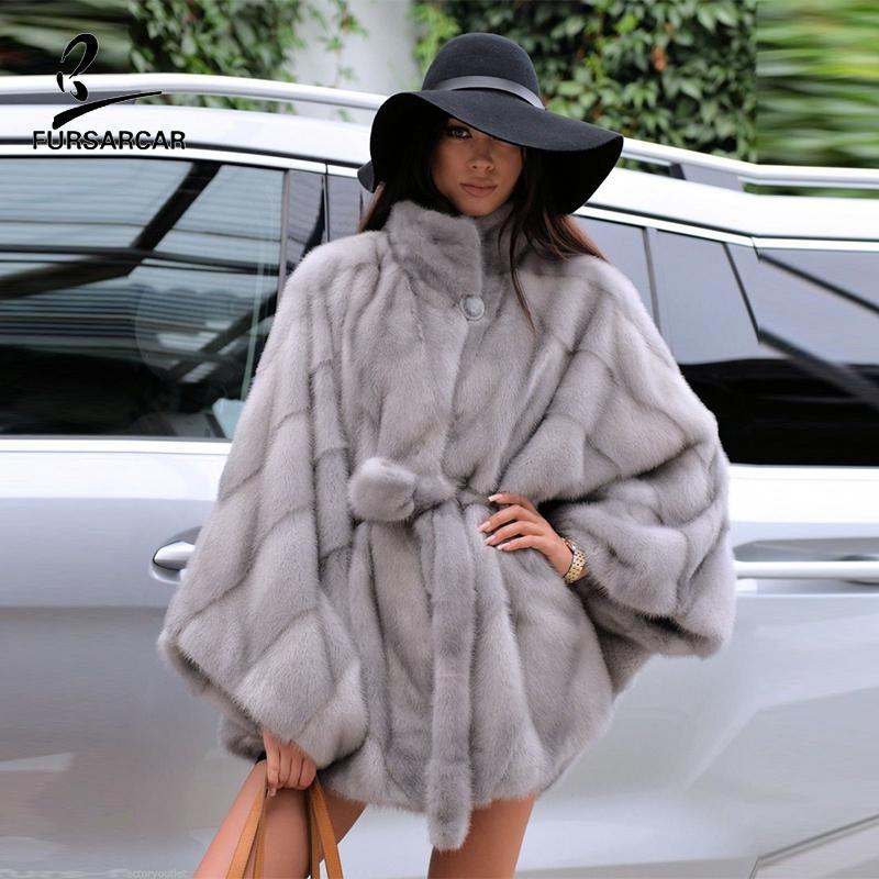 FURSARCAR Gerçek Vizon Cape Natürel Palto İçin Kış Ceket Gerçek Deri Ceket Kadınlar Manteau Femme Giyim Pançolar Ve Capes
