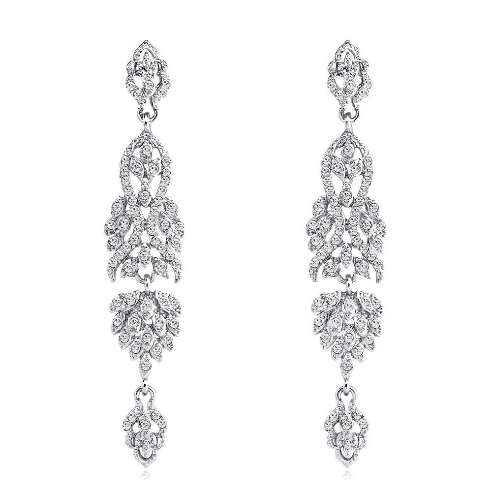 I cristalli brillanti orecchini di modo Strass lungo dell'orecchino di goccia per le donne nuziale nuziale dei monili regalo per damigelle BW-285