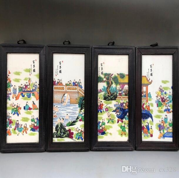 Porcelain plate painting four screen antique ceramic small hanging screen painting Jingdezhen living room decoration painting Baizi picture