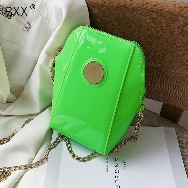 [BXX] PU bandoulière en cuir Shell Sacs pour les femmes 2020 Spring Chain Messenger Sac à bandoulière Femme Sacs à main et sacs à main Voyage HL480