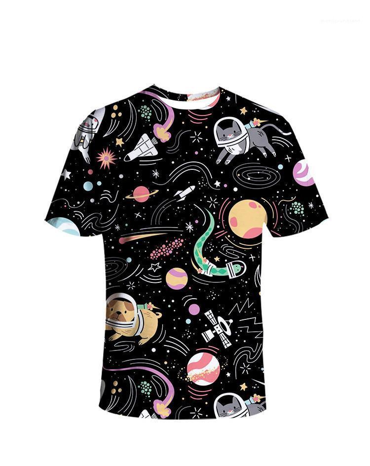 Stern 3D Tier gedruckte Black Frauen-T-Shirts Paar O-Ausschnitt Kurzarm Kreativität Street Fashion Damen Designer-T-Shirts Größe S 3XL