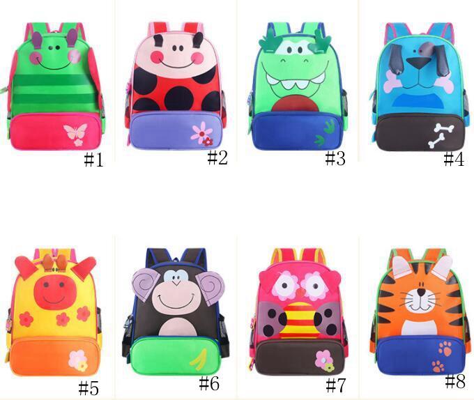 Miúdos dos desenhos animados Animais Mochilas Meninos Meninas bonitos mochilas jardim de infância Bolsas de Ombro Crianças da criança do bebê Mochila Canvas Tote novo GGA3173