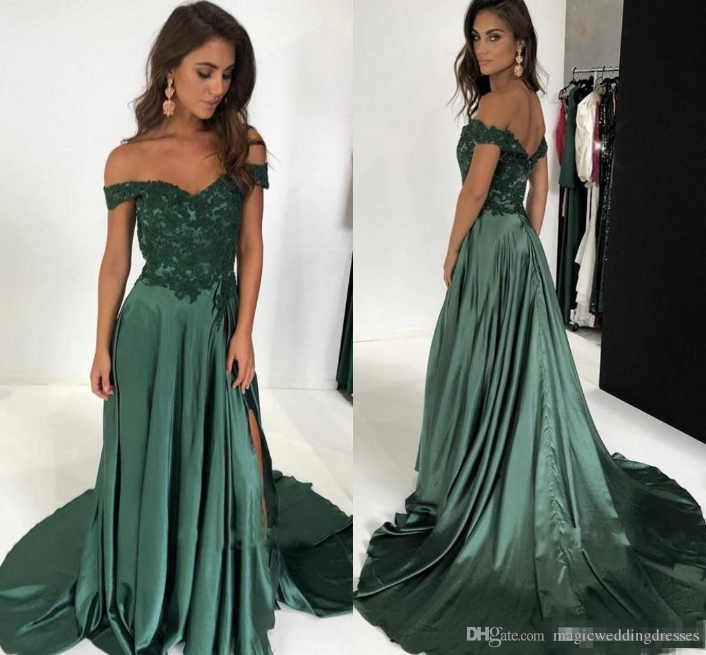 2019 Off The Shoulder Long Prom Dresses Appliques Lace Satin Split Side Aline Floor Length Backless Evening Dresses Dark Green Party Gowns