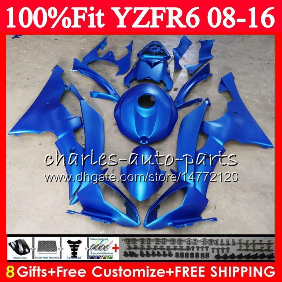 حقن أزرق مسطح معدني لياماها YZFR6 YZF-R6 YZF R6 08 09 10 11 12 13 14 15 16 طقم تركيب + حامل حامل + غطاء رأس