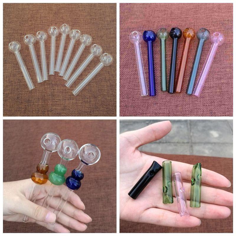 Tubos sonrisa Logotipo de tuberías de vidrio Pyrex quemador de aceite rosado claro azul Pipe mano Pyrex de cristal del aceite Burner fumadores Accesorios de tubería de 4 pulgadas cachimba