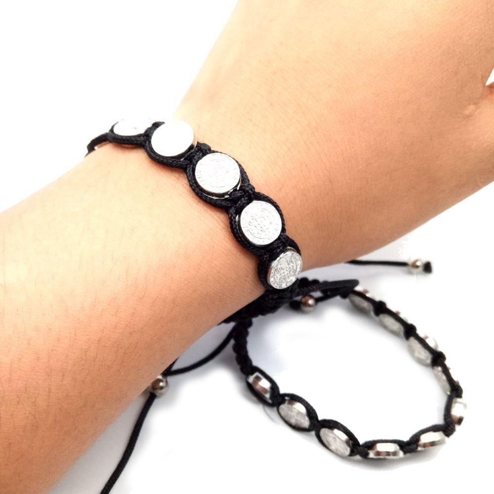 10pcs / lot Hot Catholic Religioso Jóias Suprimentos Nossa Senhora do Pai Alloy tecido chinês Knot Rosário Charm Bracelet Jóias Acessórios