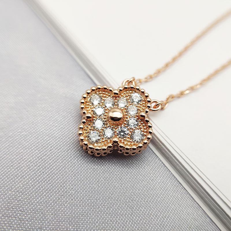 Diamante colar de flores Mulheres 14k partido do casamento de Rosa de Ouro colares Mulher Jóias