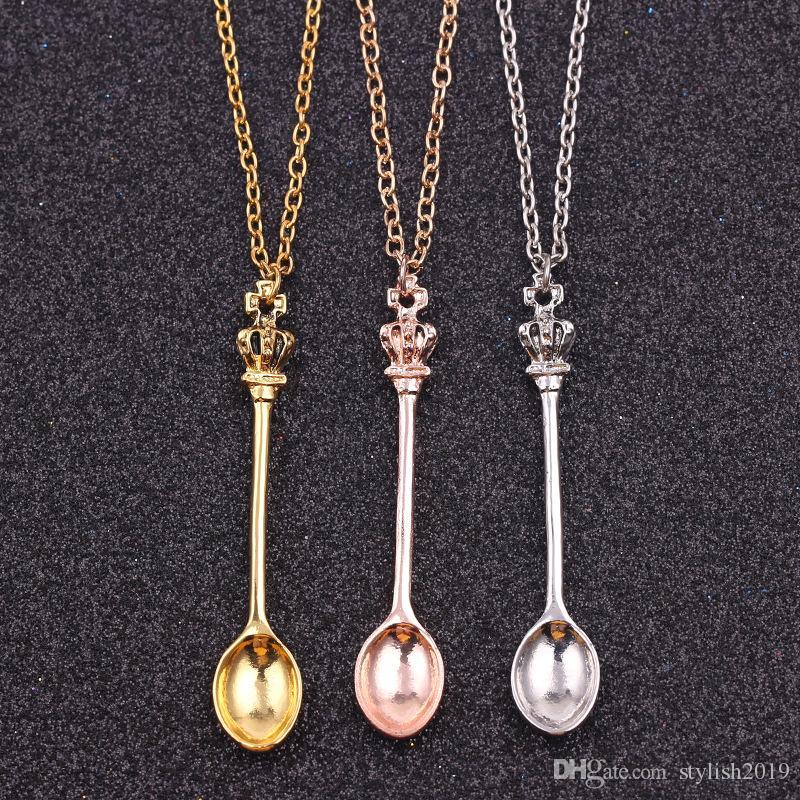 ساخنة جديدة والمجوهرات، سلسلة ،، الذهب والفضة وتتويج إبريق الشاي مصغرة الملكي أليس السعوط قلادة، تاج ملعقة قلادة قلادة WCW152