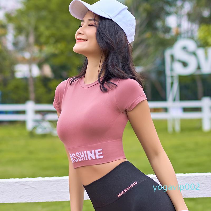 Lusure спортивные с короткими рукавами женской летний шлифа чистые красные модули сексуальными быстросохнущие йоги рубашка подвергается пупочным тонкому фитнесу T