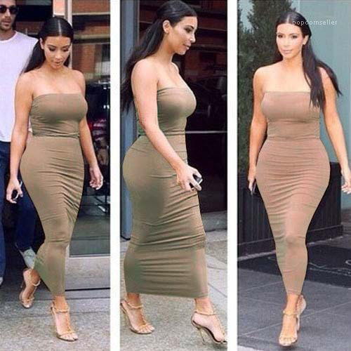 Uzun Elbise Kim Kardashian Elbiseler Kadın Kılıf Straplez Bodycon Elbise Yaz Şeker Renk Seksi