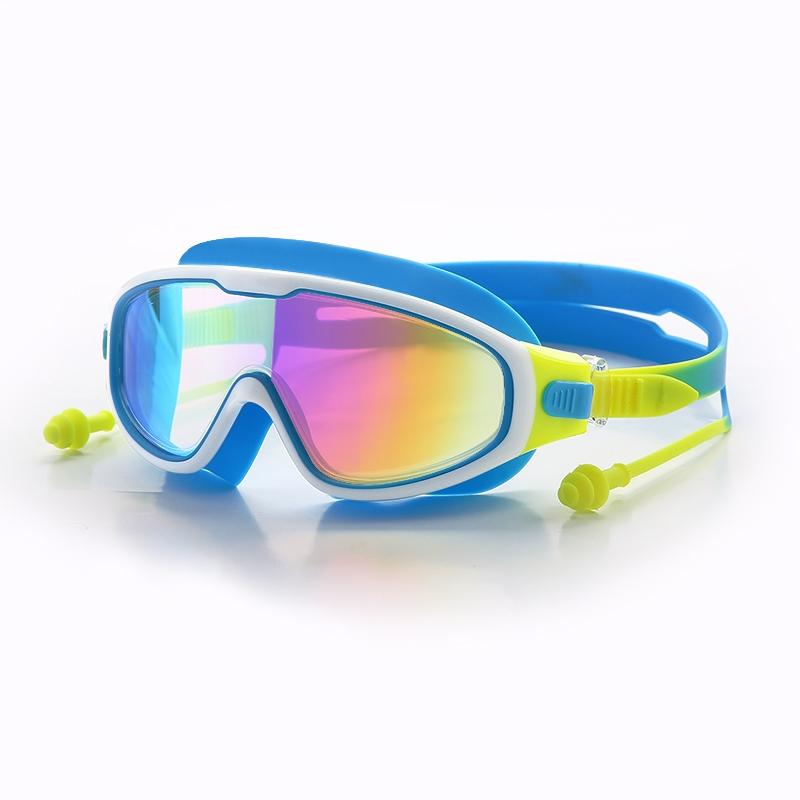 Wasserdicht und Anti-Fog Schwimmbrille Kinder Silikon Schwimmen Tauchen Gläser mit Earplugs Brille Weibliche Männer Goggles