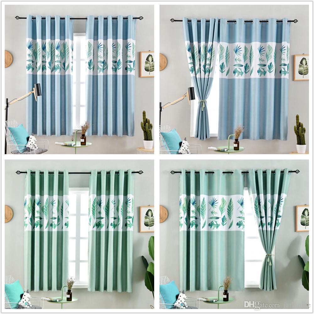 Jarl Inicio cortinas opacas para la sala de estar la hoja del plátano Imprimir 100 * 200cm Paneles Ojal corto de poliéster cortina de la ventana de la cocina