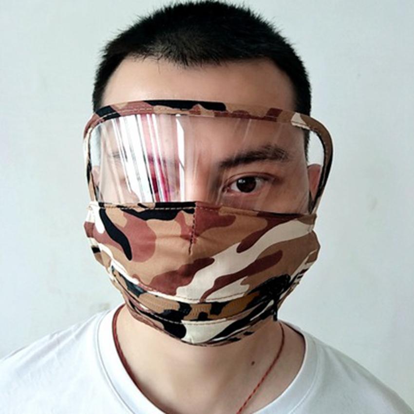 3 en 1 Masque visage avec Eye Shield transparent lavable réutilisable Coton Masque ronde Boisson Masques bouche et Zipper visage ZZA2427
