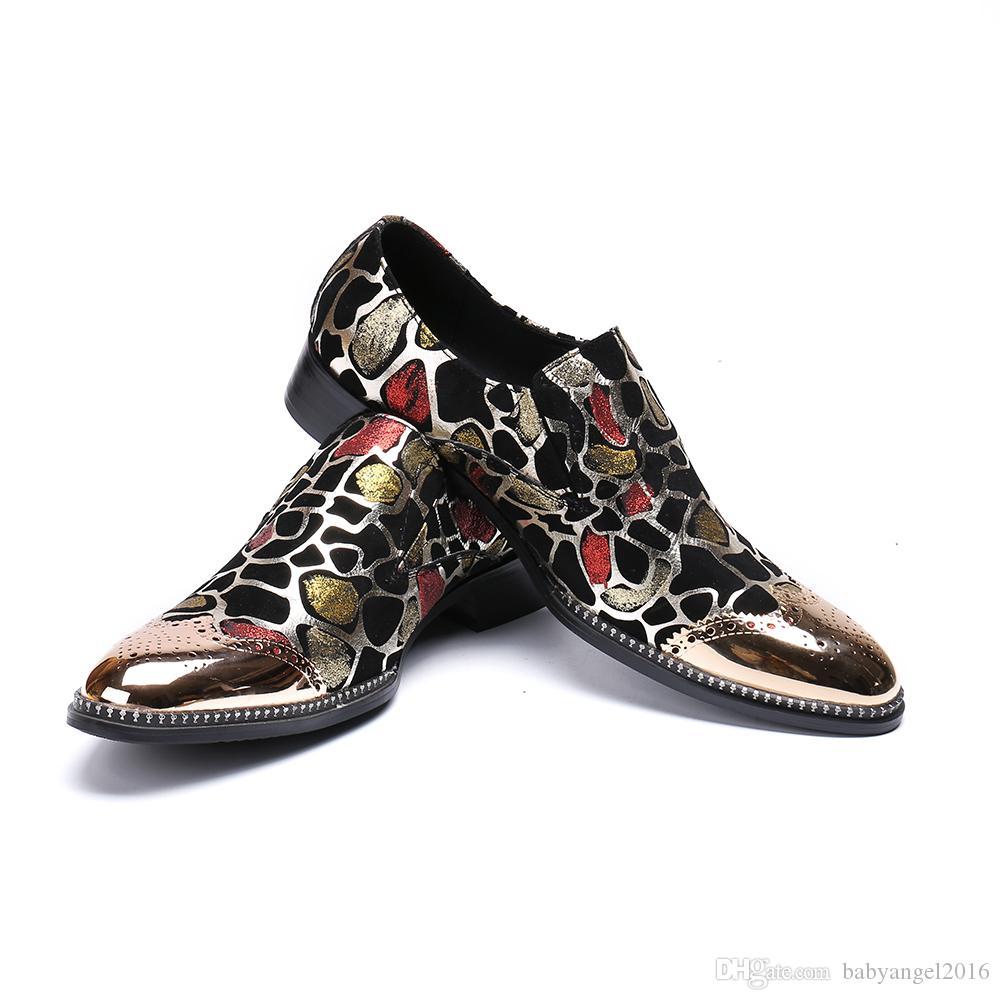 Mode Bullock Print Männer Echtes Leder Schuhe Hochzeit Männer Kleid Schuhe Plus Size Business Schuhe