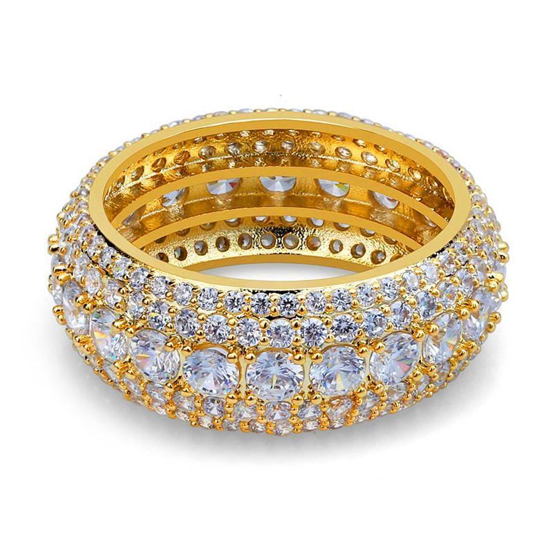 CBN ghiaccia fuori Hiphop Ring per gli uomini Bling Cubic Zirconia degli uomini di Hip Hop Gioielli in oro placcato argento Cluster Anelli K3595