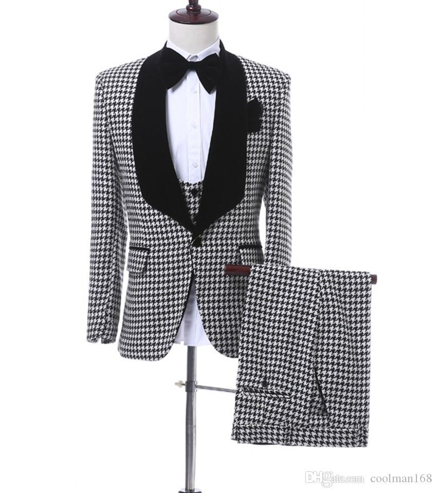 Мода Жених Смокинги Houndstooth Groomsmen Мужское свадебное платье Черный лацкане Мужская куртка Блейзер Деловой костюм (куртка + брюки + жилет + галстук) 1679