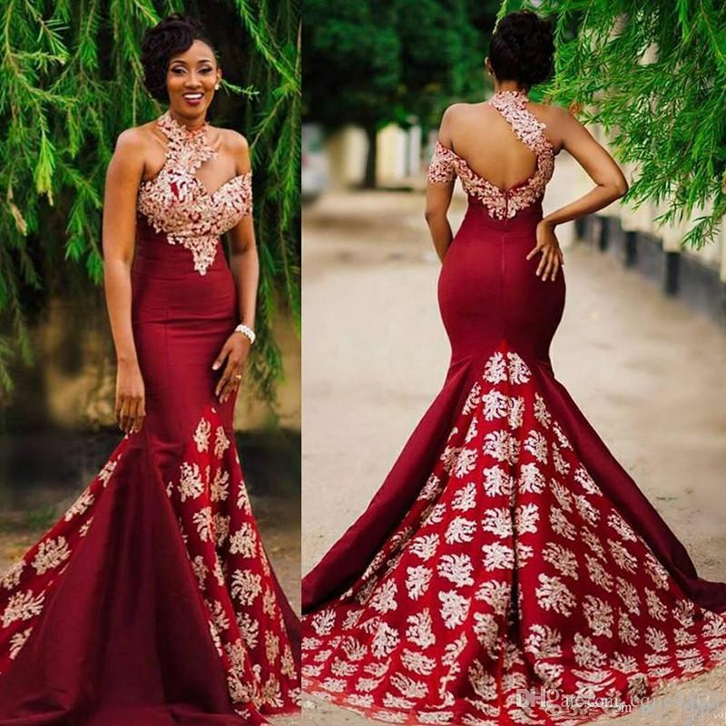 Aso Ebi Style Dark Red Sexy Mermaid Evening Pageant Dresses Modest Lace High Neck Backless Sweep Train Trumpet Africa Prom Party Gowns 1126