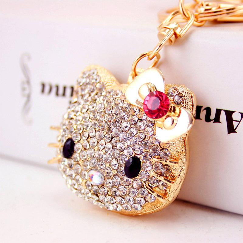 Creative metal car pendant key chain bowknot big cat head key chain Women's bag pendant