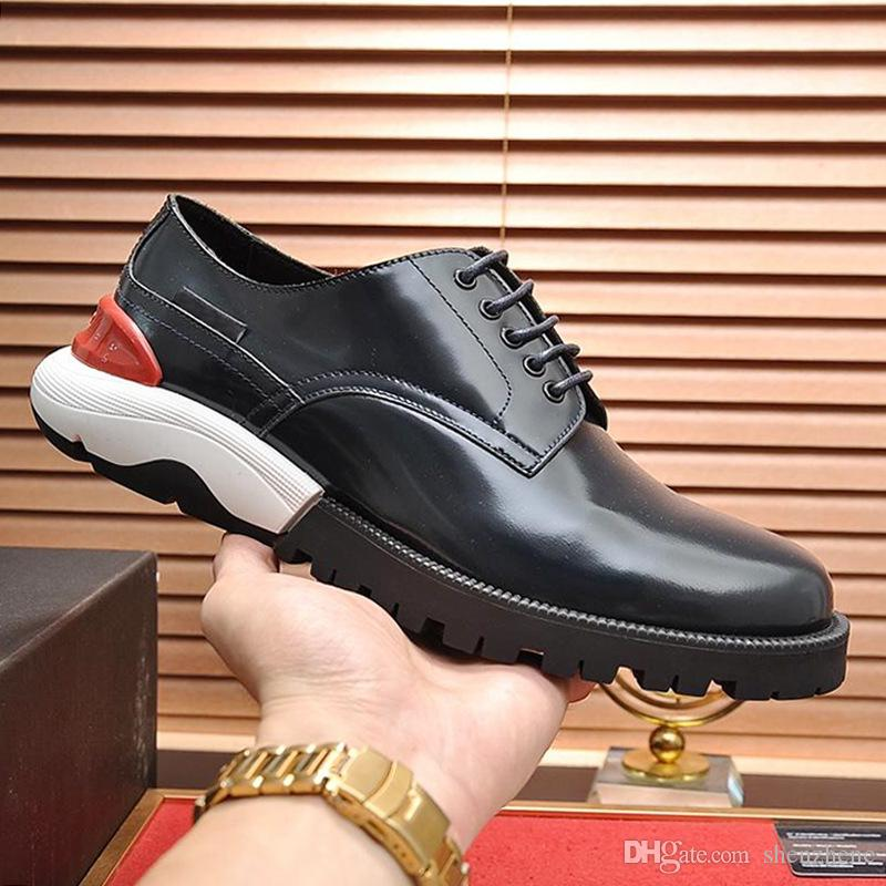 Drop Ship Derby Shoes Mens Shoes Breathable Chaussures pour homme Dress For Male Wedding Formal Flats Round Toe Lacing Office Work Shoes