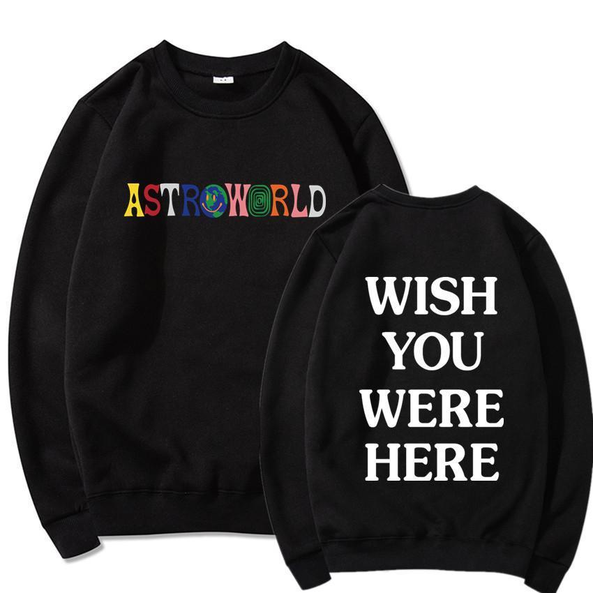 Impreso AstroWorld la camiseta de cuello redondo suéter de los hombres sudaderas Harajuku Hip Hop sólido Streetwear suéter ocasional de los hombres chándal Masculino
