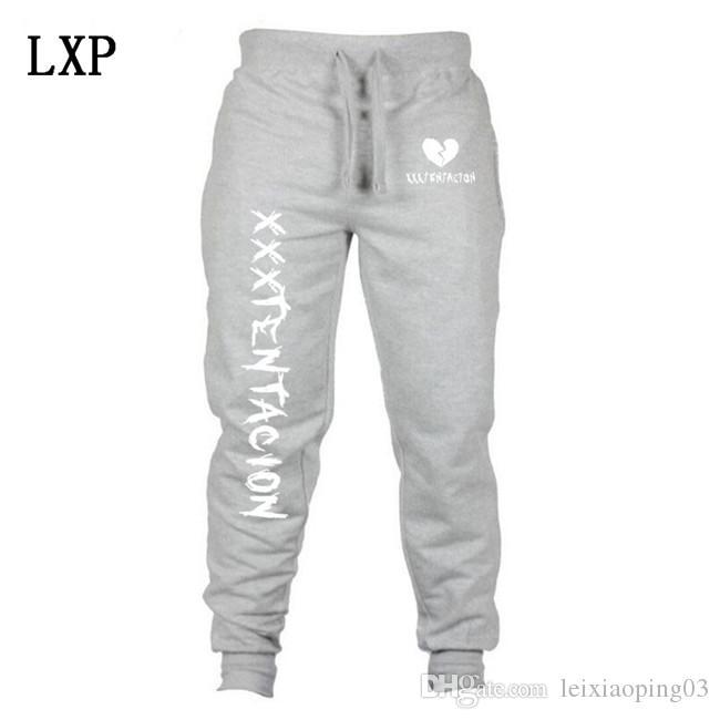 Calças novas letras dos homens XXXTentacion Imprimir aptidão Corredores Casual soltas de algodão elástico na cintura Sweatpants Pants Hip Hop EL-6