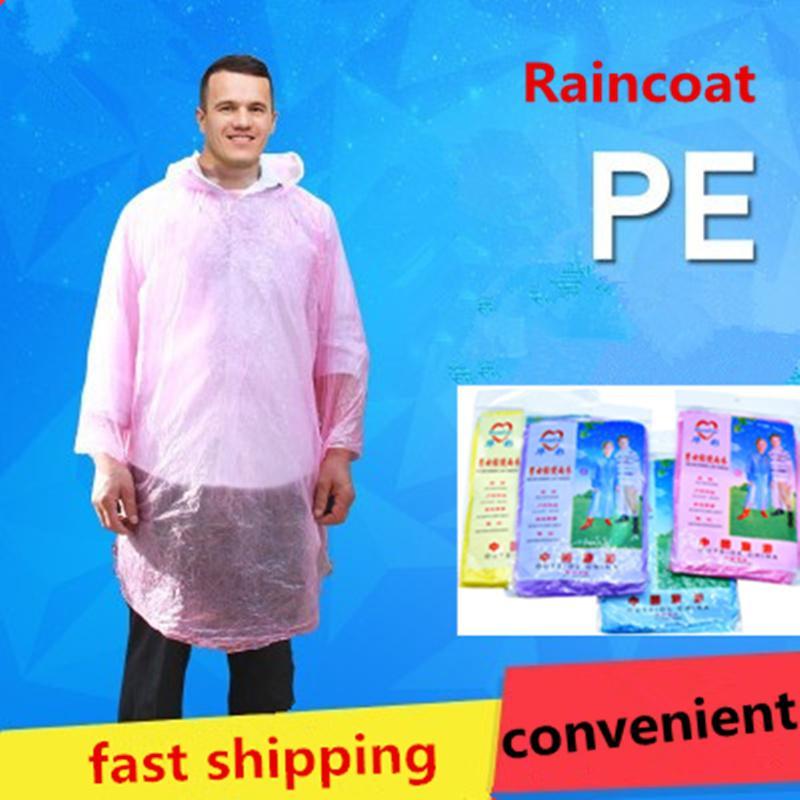 Yüksek Kalite Tek Kullanımlık PE Trençkotlar moda bir kerelik Yağmurluk Tek Panço Rainwear Seyahat Yağmur Coat Toptan