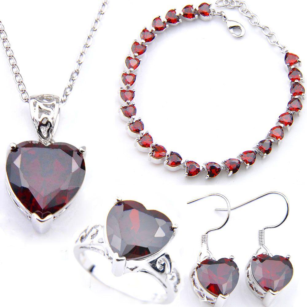 LuckyShine 925 Splitter-Herz-Cut-rote Kristall Zircon-Schmuck-Set Frau Schmuck Charme-Ohrring-Anhänger-Ring-Armband am besten Valentinstag Gif