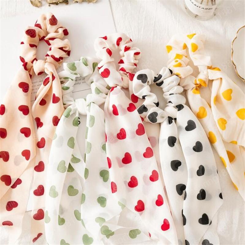 Coração cor sólida Doce Fashion Rabo Scrunchies Para Mulheres Meninas coreano Estilo Elastic Hairband Cabelo Acessórios Headband