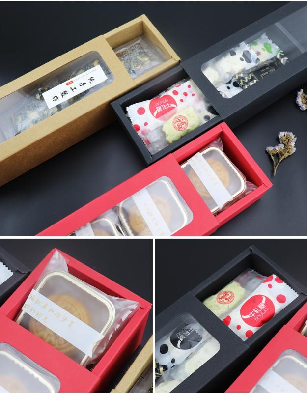 10pcs PVC Clear Window Paper Box Drawer Style Cookie Box Black Brown Red Paper Macaron Chocolate Gift