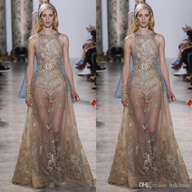 Elie Saab Dresses Evening Wear Beaded Halter Neck Sequined Prom Gowns Tulle Rhinestones See Through Formal Party Dress 4056