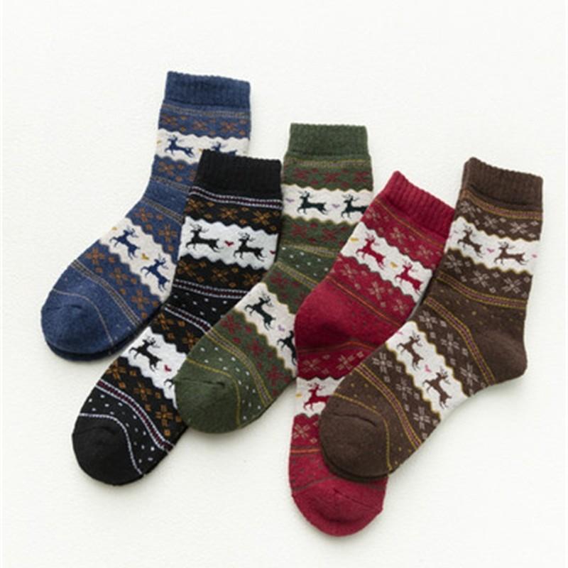Ispessimento Donne tubo Medio Calze di Natale Deer Stampa adulti Socks Mantenga autunno caldo e l'inverno soffici Household Goods 2 1mq H1