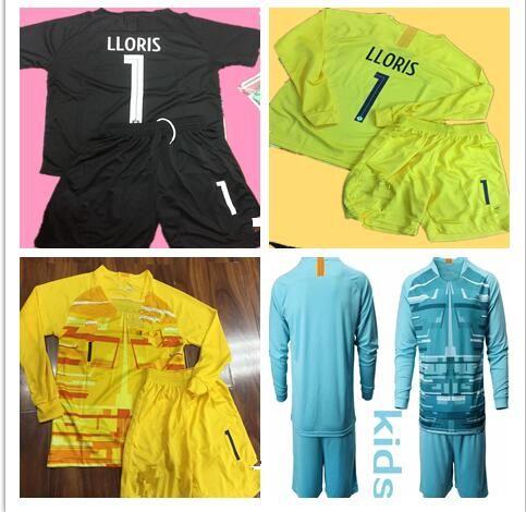 Dünya Kupası 2 Stras Çocuklar Kaleci Formaları # 1 Lloris Uzun Kollu Kaleci T Gömlek Kitleri Bebek Üniformaları Çocuk Kaleci Formalar