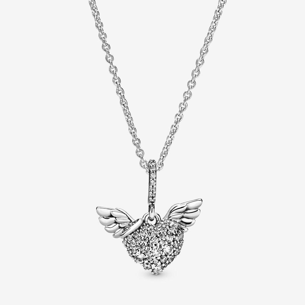 جديد وصول 100٪ 925 فضة تمهيد القلب و أجنحة الملاك قلادة الأزياء والمجوهرات صنع للنساء هدايا شحن مجاني