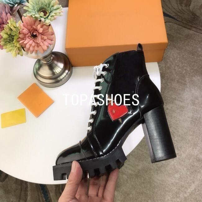 Louis Vuitton Dernières gros bottes de concepteur de luxe Femmes Martin Desert Boot flamants Amour flèche médaille cuir véritable 100% gros souliers d'hiver 35-40