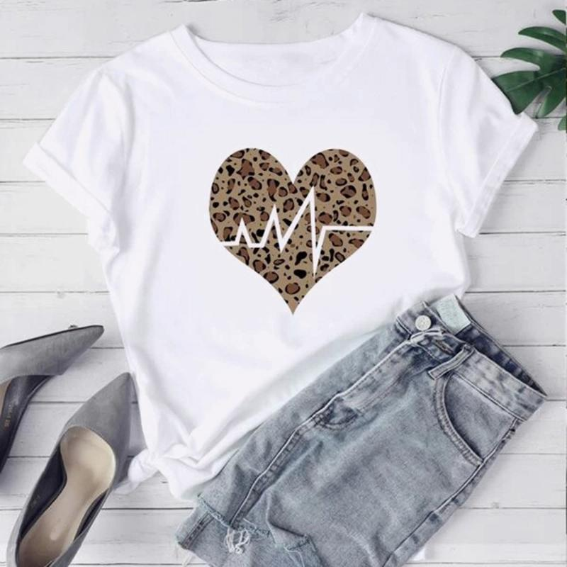 Summer Short-sleeved Tshirt Women Leopard Print N Printing Casual Sports Yoga Loose T-Shirts Plus Size Fitness Running Tee Tops